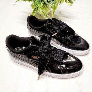 Puma Basket Black Patent Leather Platform Sneakers